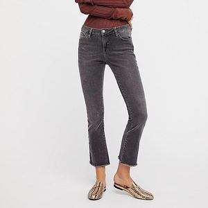 Free People Straight Crop Raw Hem Jeans